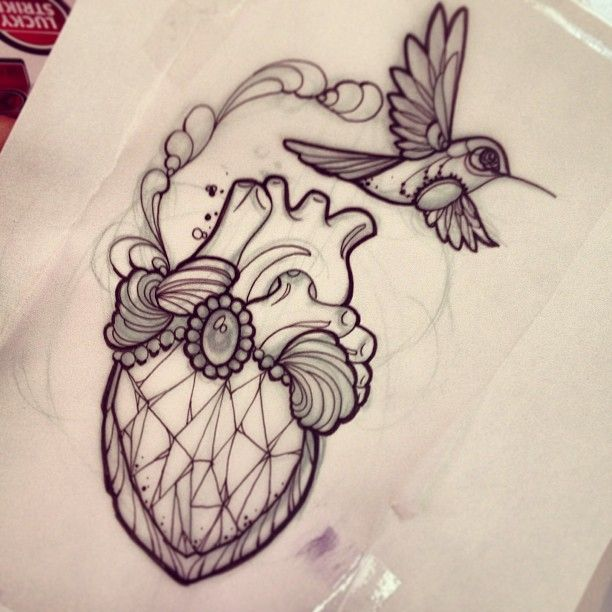 Tattoo by m1ss_juliet of Instagram  Diamond/heart hummingbird