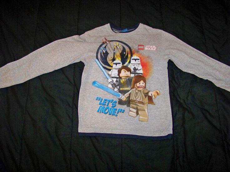 Boys Medium Grey Youth Character Long Sleeve Shirt 100% Cotton #Lego #Everyday