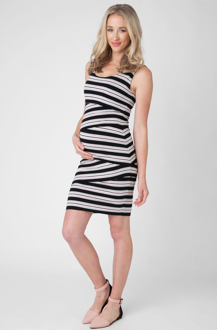 Asymetrical stripe panel maternity dress #apsobibi #ripematernity #easytowear #maternityfashion
