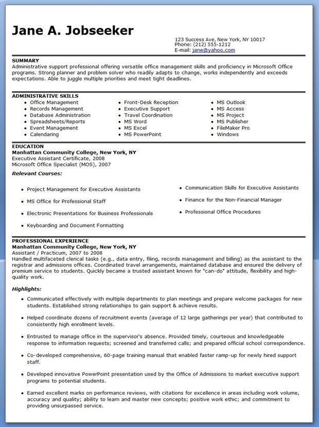 example of resume for job acworldcup tk resume format - Sample Resume For Executive Assistant