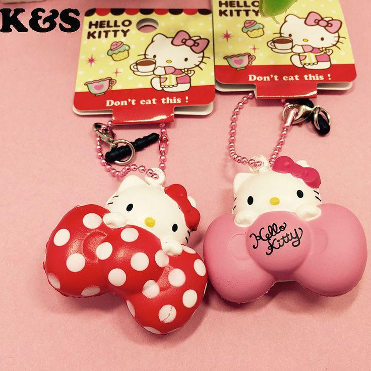 Hello Kitty Mini Squishy Toy Bow 12pcs/lot Rare Kawaii Squishies Wholesale Licensed Squishys 4cm Cute ball chain Charm dot 327 #Affiliate