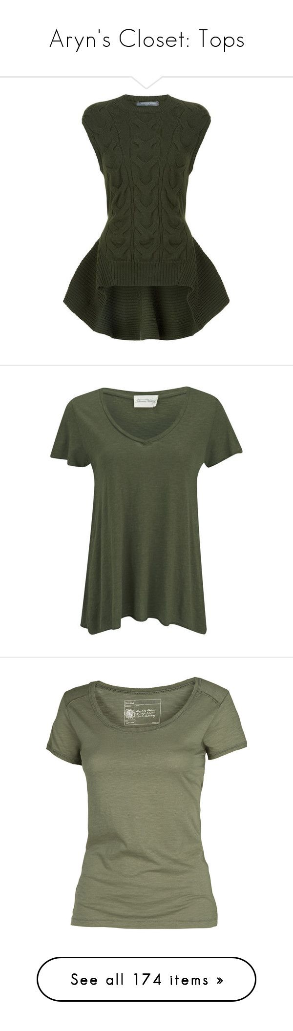 """""""Aryn's Closet: Tops"""" by batgirl87 ❤ liked on Polyvore featuring tops, sweaters, alexander mcqueen, shirts, asymmetrical peplum top, olive sweater, army green sweater, alexander mcqueen shirt, olive green sweater and t-shirts"""