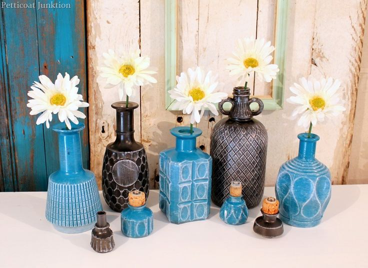 Spray painted glass decanter vases, by Petticoat Junktion, featured on Funky Junk Interiors