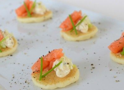 Salmon & Cream Cheese Quenelle Blinis made with Marcel's Fancy Blinis