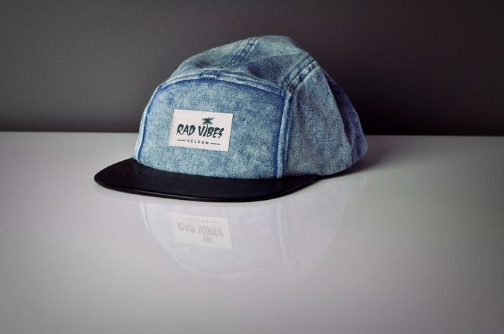 Snow Wash Five Panel Denim and Leather Flat Peak Cap