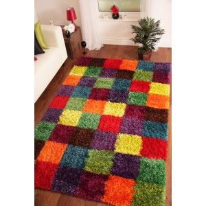 Multi Coloured Patchwork Shaggy Rug. This rug will brighten up any room with vibrant colours. http://www.therughouse.co.uk/modern-rugs/rio-ultra-modern-patchwork-multi-coloured-thick-shaggy-rug.html