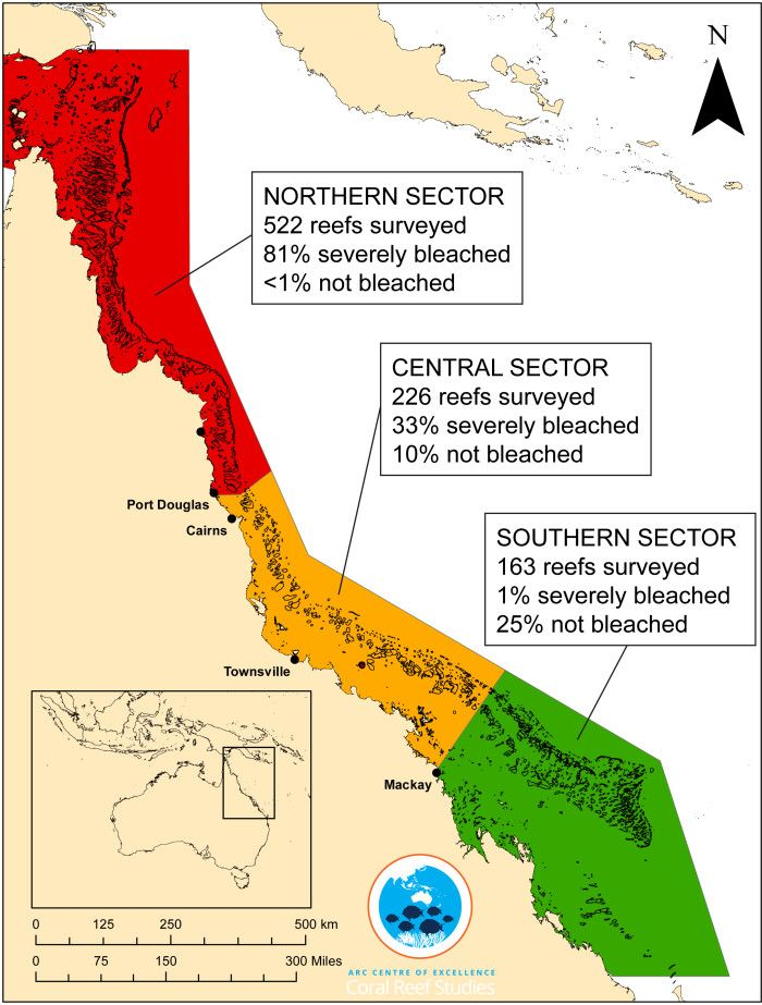 Map of the Great Barrier Reef showing results of aerial surveys for 911 reefs.