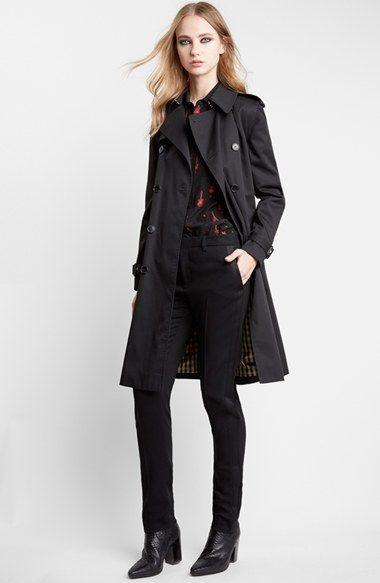 Saint Laurent Double Breasted Trench Coat available at #Nordstrom