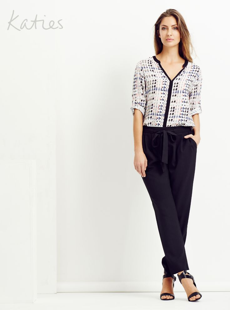 THE TIE FRONT PANT / Small details turn simple into statement.  Our tie-front pant in a soft leg shape is just at ease with a dress shirt as it is a basic top.   This is the all occasion pant you need now.