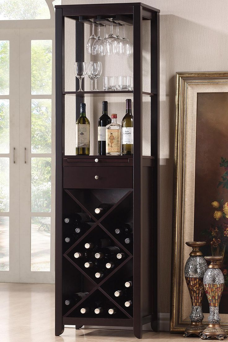 best bar unit images on pinterest  bar unit wine bottles and  - acme  casey wine cabinet set wenge finish this is casey collection winecabinet has features contemporary design storage drawer wine and glass rack