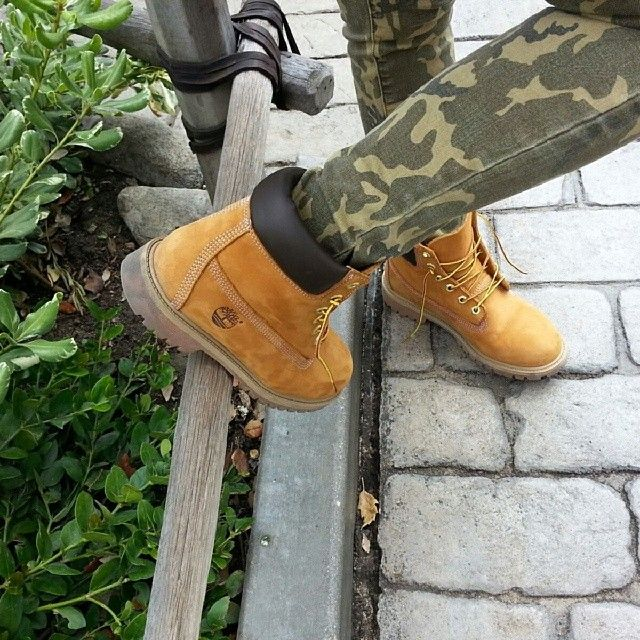 Stand out and blend in at the same time. #timberland #yellowboots