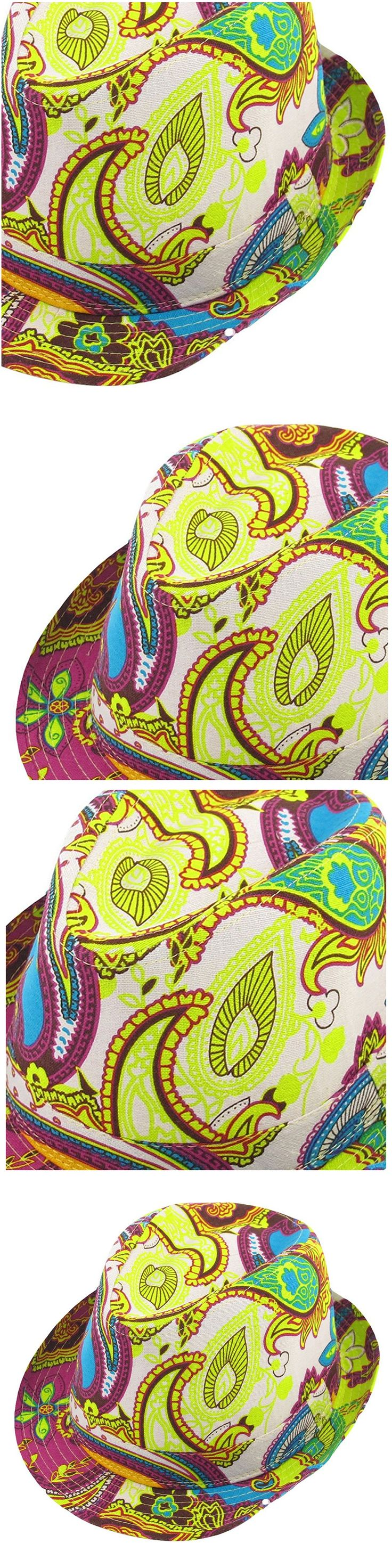 TKOH Summer Outdoor Paisley Pattern Fedora Trilby Hat Creamy