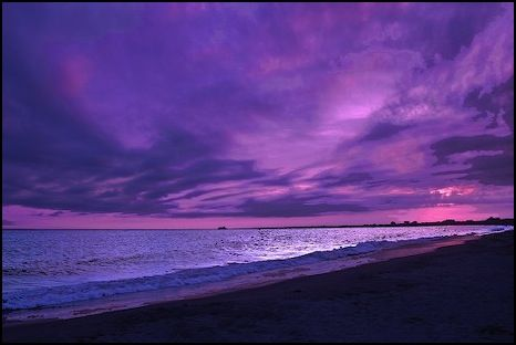 The beach, everchanging skyline, nature and the color purple or any variation of the color.