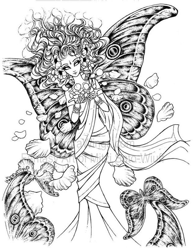 artist mitzi sato wiuff coloring butterfly papillon mariposas vlinders wings gracefull flowers fairy myth mythical