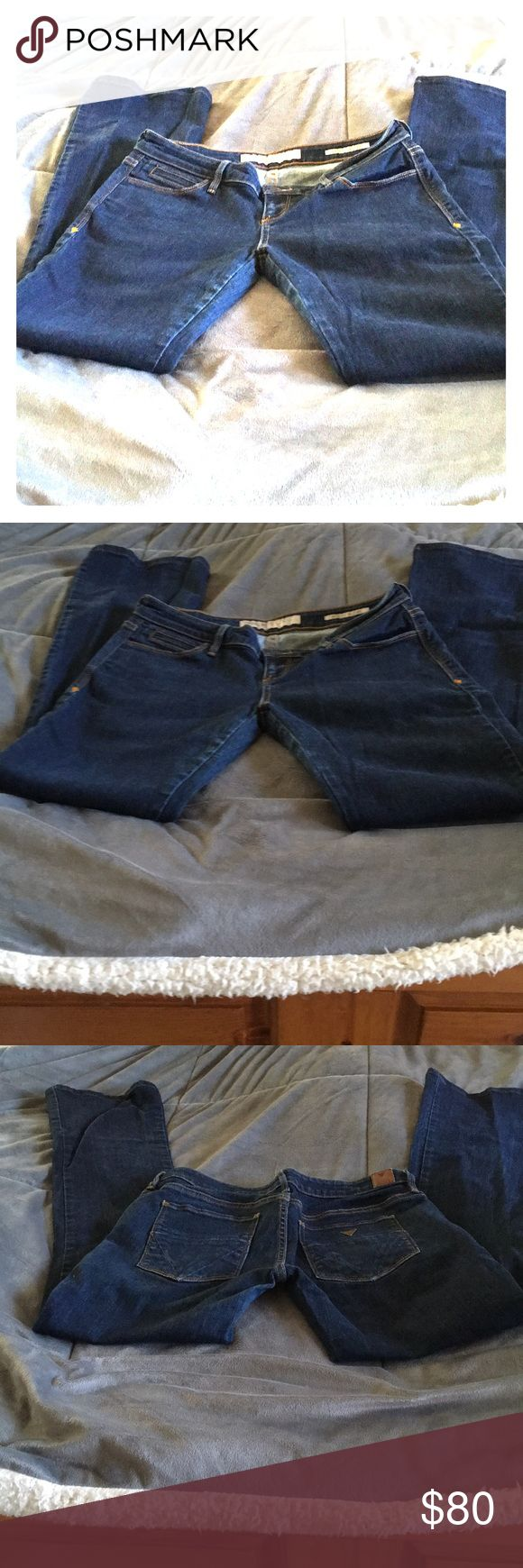 Guess jeans boot cut ultra low rise size 29 New without tags, dark rinse ultra low rise jeans from smoke free home. Rise is 8 inches and inseam is 31 inches. These jeans have stretch and qualify for free shipping. Just bundle with any additional items you like from my closet and I will send you an offer for free shipping. Guess Jeans Boot Cut
