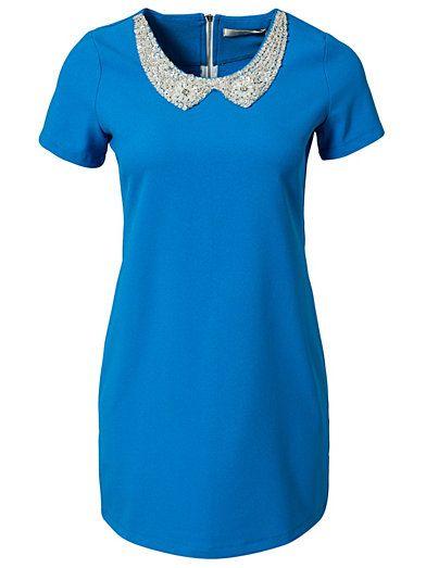 Embellished Collar S/S Shift Dress - Aura Boutique - Blå - Klänningar - Kläder - Kvinna - Nelly.com