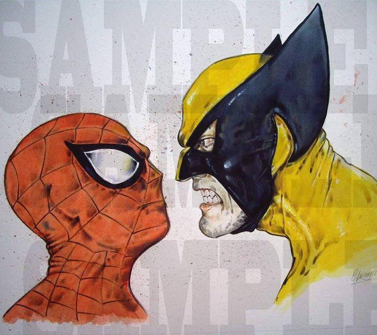 Superhero water colors from artist Graham Leggett #spiderman #wolverine #avengers #logan