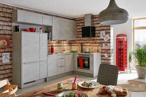 Stylische Eckküche in Betongrau - eine Küche zum Wohlfühlen