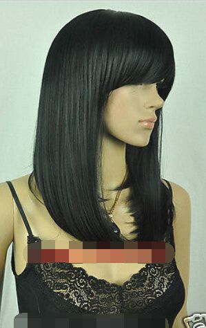 This is nice, check it out!   New wig Cosplay Black Straight Medium Women's Wig Synthetic fibre hair wigs - US $22.00 http://hairshopweb.com/products/new-wig-cosplay-black-straight-medium-womens-wig-synthetic-fibre-hair-wigs/