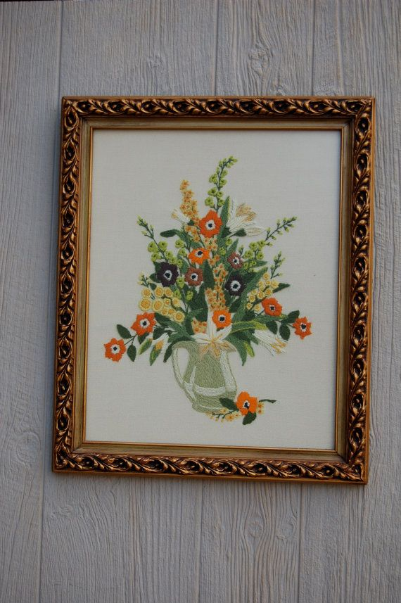 Hey, I found this really awesome Etsy listing at https://www.etsy.com/listing/86425798/vintage-crewel-embroidered-floral-wall