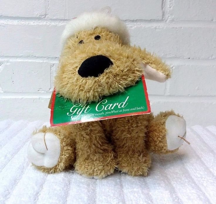 Santas Helper Gift Card Holder Puppy Dog Stuffed Animal Plush Hallmark     (A29) #Hallmark