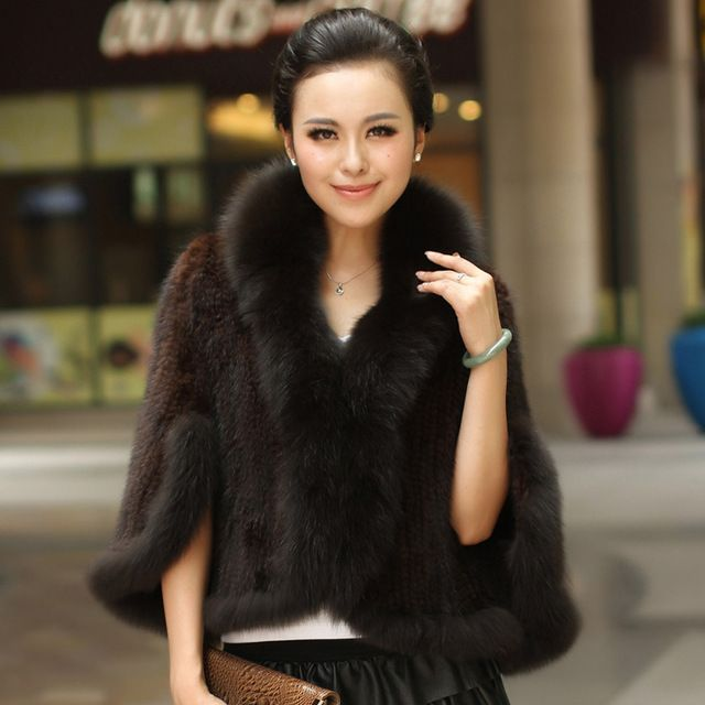 Winter Women's Genuine Knitted Mink Fur Shawls With Fox Fur Collar Pashmina Capes Bat Sleeve Bridal Wraps Outerwear Coats US $94.50 /piece click the link to buy http://goo.gl/YJxPC6