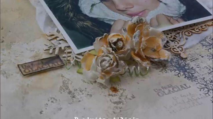 Scrapbook Layout (Prima gesso, Izink Dye, Stamps Carabelle Studio)