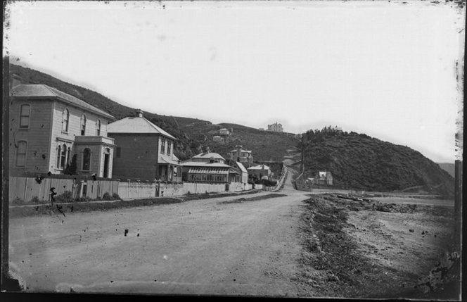 Houses, Oriental Bay, Wellington, showing zig-zag of Oriental Terrace