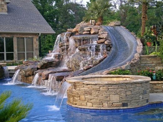 Beautiful Pool Slide And Jacuzzi Dream Back Yard My