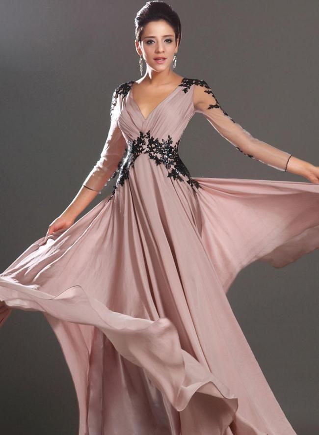 Best 8 long prom dresses with sleeves images on Pinterest   Vestidos ...