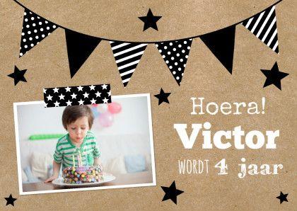Uitnodiging vlaggen jongen LB, verkrijgbaar bij #kaartje2go voor € 0,99