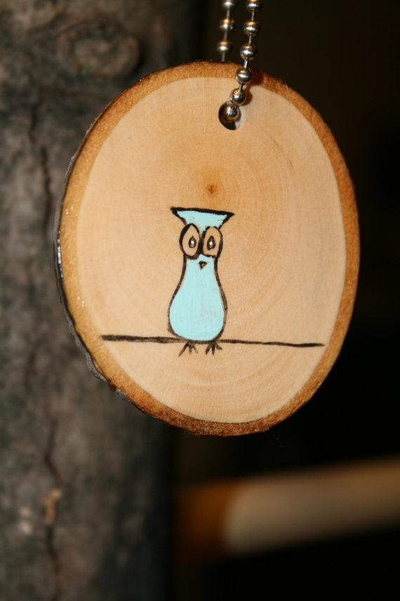 Keychain Blue Owl/ key ring / key fob / key by starlightwoods, $8.99