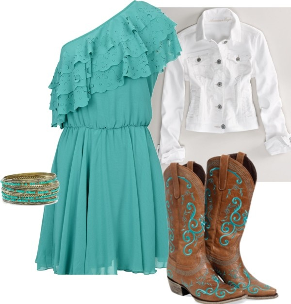 Turquoise, created by kiahgourley on Polyvore: Cute Country Outfits, Country Girl, Cute Dresses, Country Outfits 3, Country Style, Cute Outfits, White Jackets, Cute Boots, The Dresses