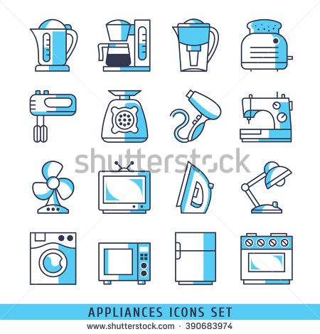 Appliances icons set lines blue color vector illustration - stock vector