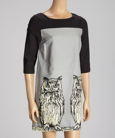 Take a look at this Gray & Black Color Block Owl Dress by Knitted Dove on #zulily today!