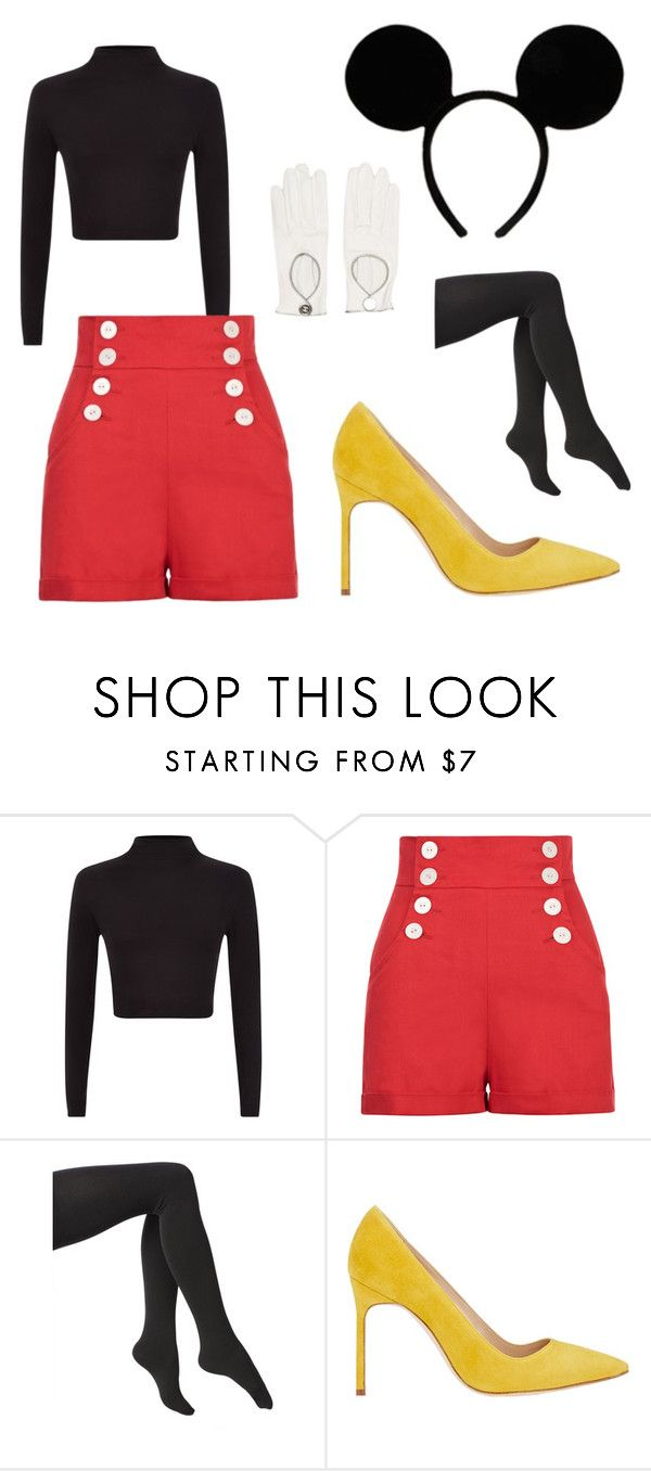 """""""Mickey Mouse Costume"""" by tara-starlet on Polyvore featuring Via Spiga, Manolo Blahnik, Chanel, Costume, costumeparty, halloweencostume and Halloweenparty"""