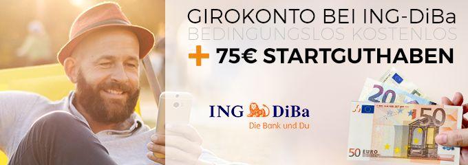 Girokonto bei ING-DiBa mit 75€ Startguthaben - bedingungslos kostenlos
