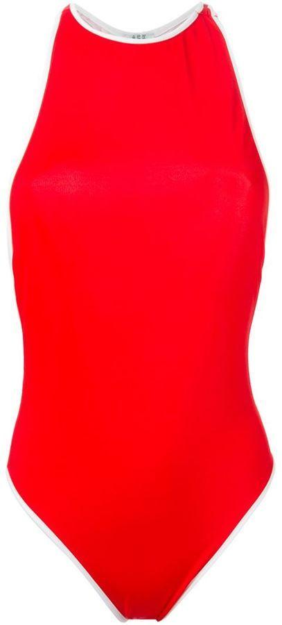 €143, Roter Badeanzug. Online-Shop: farfetch.com. Klicken Sie hier für mehr Informationen: https://lookastic.com/women/shop_items/272425/redirect