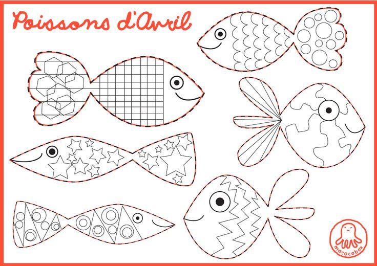 Free printable for kids, poissons d'avril, enfants, illustration, coloriage, doodle, colouring book, kids activity, april fools
