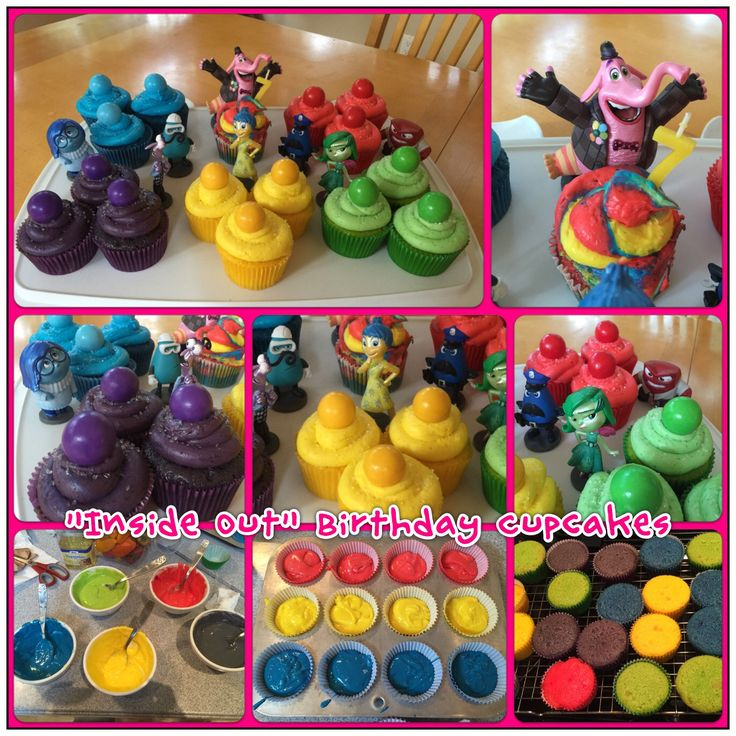 Inside Out birthday cupcakes. Figurines from the Disney Store. Gum balls for memory balls from Party City. Color the cupcakes to match the emotions. Bing Bong's cake is a rainbow for when the memories mix.  #InsideOut #Disney #birthday #cupcakes