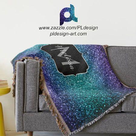 Personalize Aqua blue Ombre glitter sparkles Monogram Throw Blanket by #PLdesign #home #homedecor #BlueSparkles #SparklesGift @zazzle