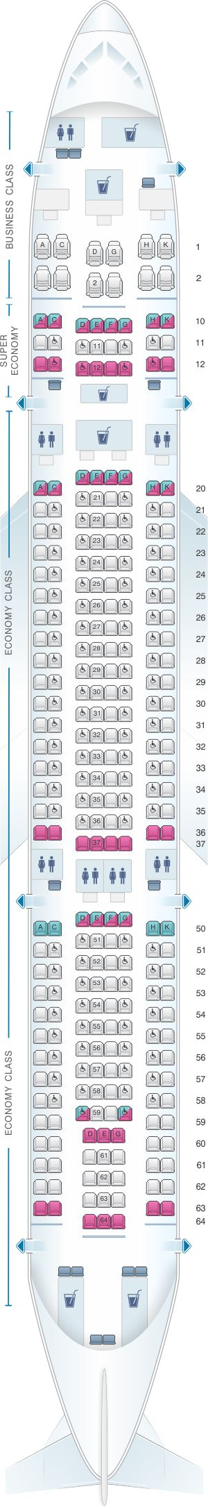 Seat Map SriLankan Airlines Airbus A330-200 Config. 2