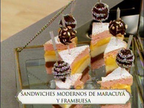 Sandwiches modernos de parchita y frambuesa; Masa financie, cremoso parchita,  -  Chf. Paulina Abascal -La hora del té