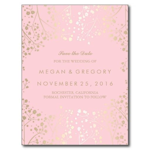 baby's breath gold and pink save the date postcard