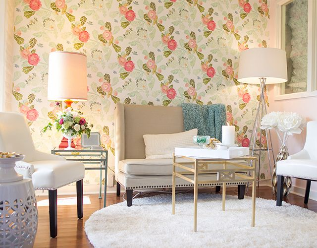 Wallpaper For Homes Decorating girls twin bedroom with bird wallpaper childrens room decorating 25 beautiful homes House Of Turquoise Watercolor Peony Wallpaper