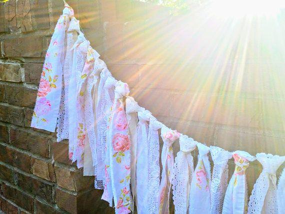 Wedding decorations rustic, Fabric Garland Banner, Rustic Wedding Decor, Rustic Home Decor, Photo Backdrop, Rag Garland, Rag Tie Banner