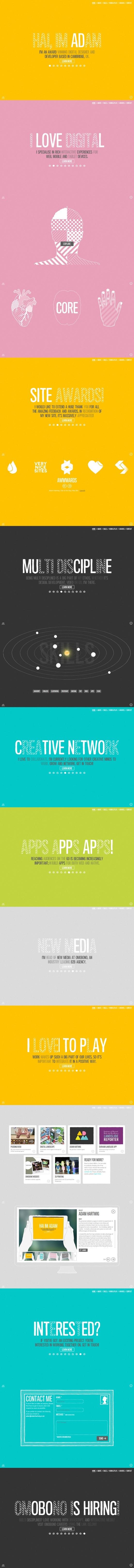 Adam Hartwig 9 May 2013 http://www.awwwards.com/web-design-awards/adam-hartwig #webdesign #inspiration #UI #Clean #Minimal #Flexible #Illustration #Animation #HTML5 #White #Yellow