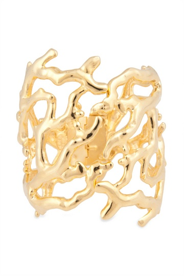 Kenneth Jay Lane Black Enamel Coral Cuff Plated gold/black/coral