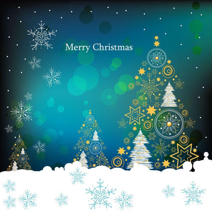 画像サンプル-壁紙:深夜のツリー #クリスマス #イラスト #Christmas