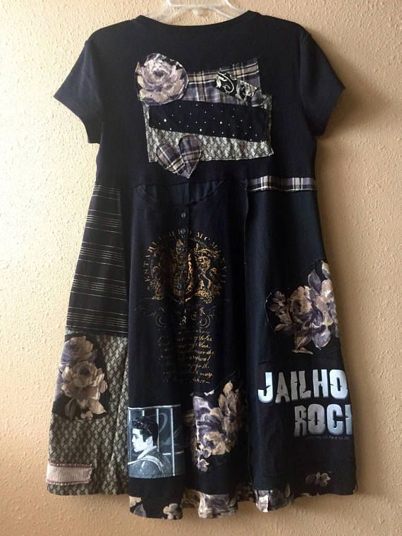 Upcycled Rocker Elvis T-Shirt Dress Artsy Fabric Collage